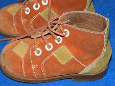 vintage ancien CHAUSSURES ENFANT en CUIR bébé TAILLE 22 old KIDS boots SCHUHE