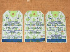 3 used 70's vintage ASPEN/SNOWMASS child ski lift tickets passes, consecutive #s
