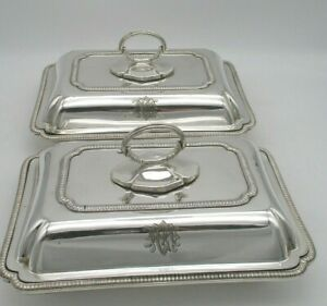 Small Pair of Silver Plated Lidded Serving Tureens / Dishes - Hamilton & Inches