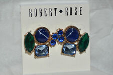 ROBERT ROSE MULTI-COLORED STONE CLUSTER EARRINGS