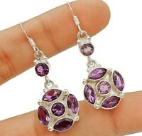 Natural 4CT Amethyst 925 Sterling Silver Earrings Jewelry ED23-9