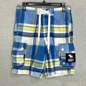Abercrombie & Fitch XL Boys Blue Yellow Plaid Drawstring Swim Trunk Board Shorts