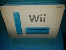 Nintendo Wii Limited Edition Blue Console in Box Mario Kart & Mario 64 Installed