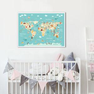 Cartoon Animal World Map Poster Education Nursery Canvas Print Kid Bedroom Decor