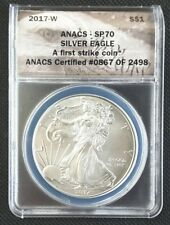 2017-W BURNISHED SILVER EAGLE ANACS SP70!!!