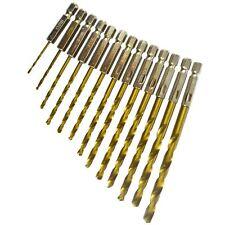 "Metric Titanium Drill Bit Set With 1/4"" Hex Shank 1.5 - 6.5mm 13pc BERGEN AT673"