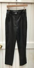 "Vintage 90s Black Faux Leather High Waisted Mom Trousers Jeans 26"" Waist 8 PVC"