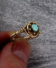 Labradorite Gemstone Ring in 14kt Rolled Gold  Wire Wrapped Size 5 to 15