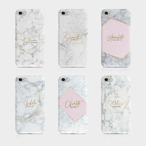 Personalised Initials Name iPhone 5s SE XS Samsung Hard Phone Case Marble Gold