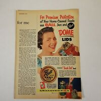 "Vtg Ball Jars and Dome Lids ""Touch Test"" Seal 1952 Print Ad Magazine Advertising"
