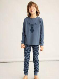 NAME IT Jungen Pyjama Schlafanzug blau Motorrad Größe 86/92 bis 158/164