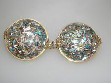 VINTAGE LARGE 1950-60'S HILLCRAFT WIRE WRAPPED PASTEL CONFETTI LUCITE EARRINGS!