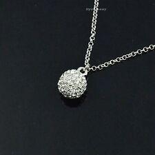 Beauty Unique Cute Mini Swarovski Crystal Ball Rhodium Plated Pendant Necklace