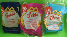 "3 McDonald's Barbie Dolls 4.5"" #1 Teen Skipper #2 #3 Eatin' Fun Kelly 1998 New"