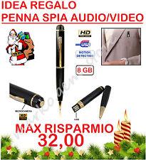 IDEA REGALO NATALE PENNA SPIA SPY CON VIDEOCAMERA A COLORI HD MICROFONO 8 GB