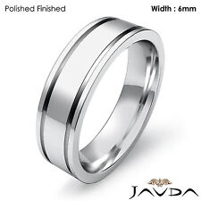 Plain Ring 6mm 10.7gm Sz 4 - 4.75 Wedding Band Women Solid Platinum 950 Flat Fit