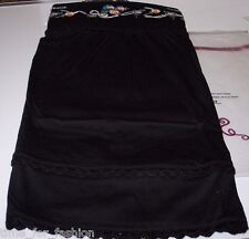 Sweetees Super Soft Cotton Blend skirt Floral Embroidery Knit Trim - Small Black