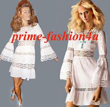Michael Kors Long Bell Sleeve Crochet Lace Insert White Cotton Dress