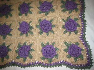 HANDMADE Crocheted AFGHAN Knit PURPLE Rose FLOWER Quilt COUCH Lap THROW BLANKET