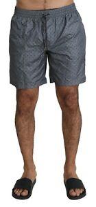 DOLCE & GABBANA Swimshorts Gray Polka Beachwear Shorts Mens IT5 / M