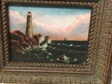 Antique New England Lighthouse & Seascape Painting Boston Cape Cod At Dusk