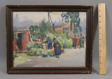 Antique MABEL WOODWARD American Impressionist Oil Painting Christmas Tree Seller