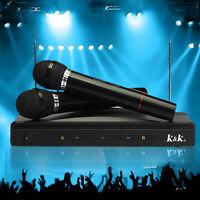 Wireless Dual Microphone Mic System Handheld Speaker Karaoke DJ Singing Receiver