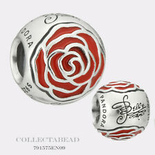 Authentic Pandora Silver Disney Belle Enchanted Rose Red Enamel Bead 791575EN09