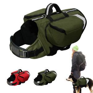 Dog Training Harness Working Vest Outdoor Travel Saddle Bags for Labrador K9