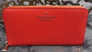 Kate Spade ~STACI Saffiano Leather Continental Zip Around Wallet~ORANGE~NWT $229