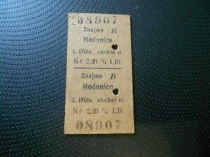 Fahrkarte Fahrschein 1928 Znaim Znojmo Hödnitz Hodonice Südmähren 2-sprachig RAR