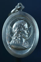 French Religious Medal Sterling Silver Pendant portrait of Jesus Christ