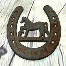 Horseshoe Welcome Sign Wall Hanging Horse Iron Plaque Rustic Country Farmhouse