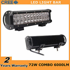 "12"" 72W CREE LED Work Light Bar Flood Spot SUV Boat Driving Lamp Offroad 4WD UTE"