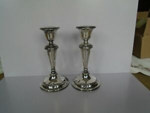 Good size pair of Antique Solid Silver candlesticks Birmingham 1911