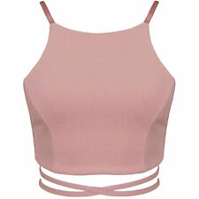 New Strappy High Neck Tie Wiast Back Detail Stretch Bodycon Wrap Crop Top