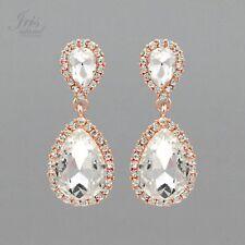 ROSE GOLD Plated Clear Crystal Rhinestone Wedding Bridal Drop Dangle Earrings 45