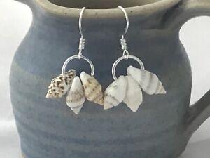 Triple cowrie shell boho dangly earrings hypoallergenic 925 silver ear wires