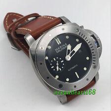 Steel Lünette Parnis 47mm schwarzes Zifferblatt Seagull Datum automatic watch