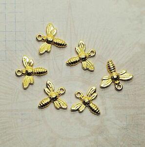 Tiny Gold Honey Bee Charms (6) - L1123