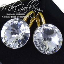 GOLD PLATED Earrings with Crystals from Swarovski® Crystal (Clear) Rivoli 14mm