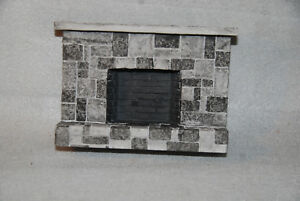 New Gray checkered Stone dollhouse fireplace with stone mantel
