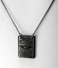 """GUESS DESIGNER GUNMETAL """"BELIEVE IN CHANGE"""" 2 TAG SMALL LINK CHAIN NECKLACE NWT"""