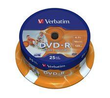 Verbatim 25 DVD-R IJP Inkjet Printable DVD Blank Recordable Discs DVD