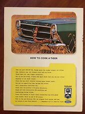Vintage 1966 Original Print Ad FORD FAIRLANE GTA ~How to Cook a Tiger~