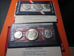 2 - 1976 UNC Silver U.S. Bicentennial 3 Coin Sets No Reserve