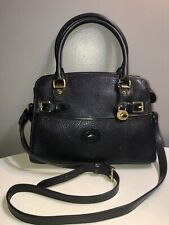 Vintage Dooney&Bourke Navy Blue Satchel Crossbody Handbag Brass