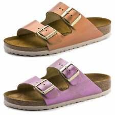 Birkenstock Arizona Suede Leather VL Washed Metallic Flip Flop Summer Sandals