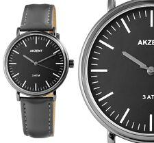 Herren Armbanduhr Schwarz/Grau Kunstlederarmband 3 ATM 2900052 von Akzent