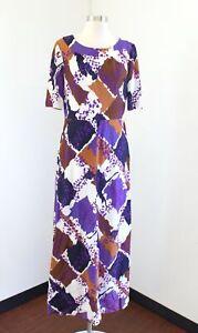 Vtg 60s 70s Rembrant Purple Brown Printed Maxi Dress Size M / L Retro Geometric